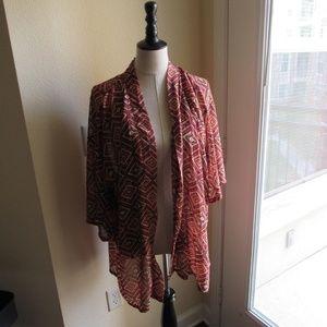 Forever 21 Orange Printed Kimono